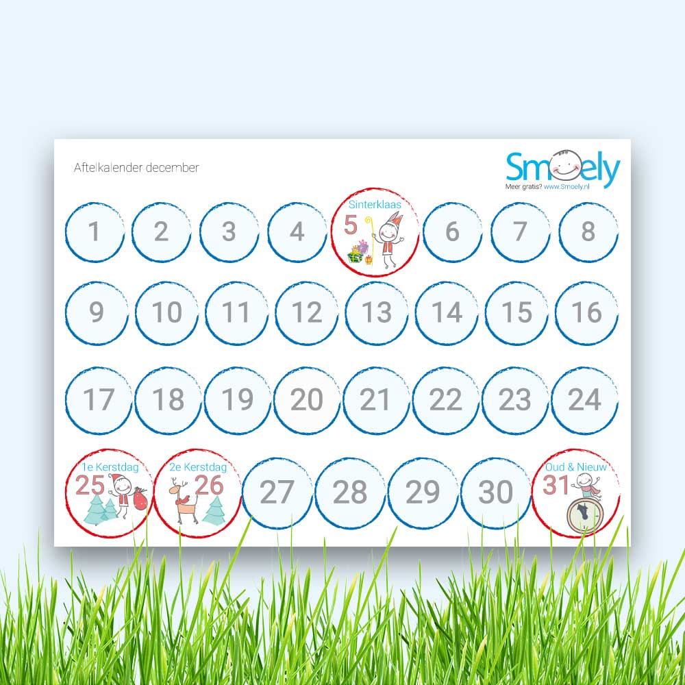 Favoriete December kalender kinderen | Gratis Download | Smoely #ZS94