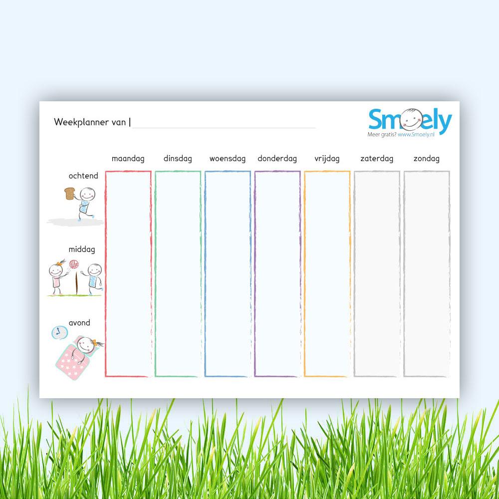 Bekend Weekplanner kind 2 | Gratis Download | Smoely OO12